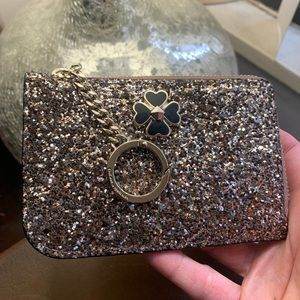 Authentic Kate Spade Glitter/Patent zip card /Key